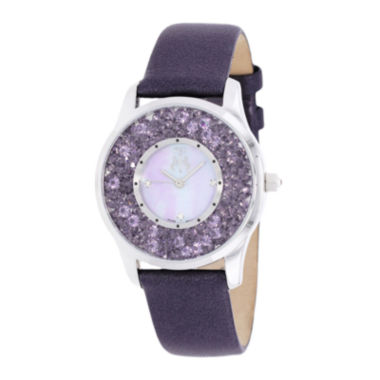 jcpenney.com | Jivago Brilliance Womens Mother-of-Pearl Purple Leather Strap Watch