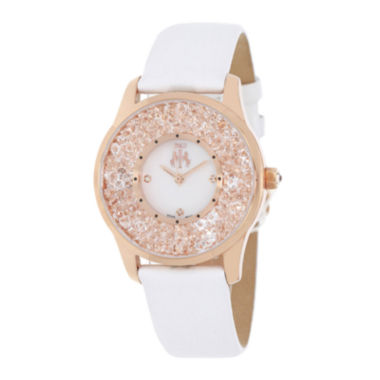 jcpenney.com | Jivago Brilliance Womens Mother-of-Pearl Dial White Leather Strap Watch