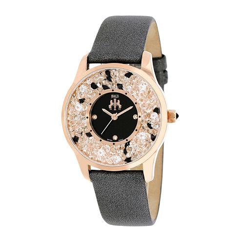 Jivago Brilliance Womens Black Leather Strap Watch