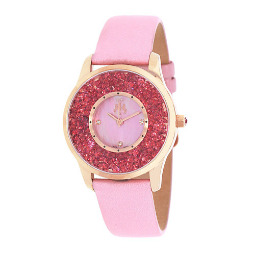 Jivago Brilliance Womens Mother-of-Pearl Pink Leather Strap Watch