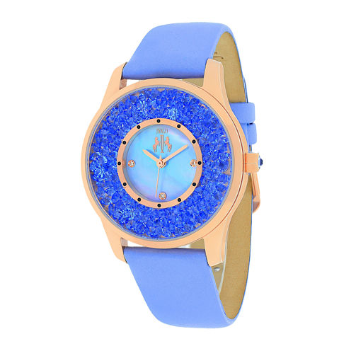 Jivago Brilliance Womens Blue Mother-of-Pearl Dial & Purple Leather Strap Watch