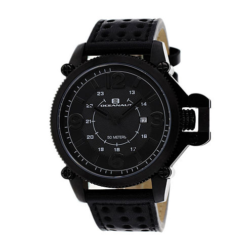 Oceanaut Scorpion Mens Black Leather Strap Watch