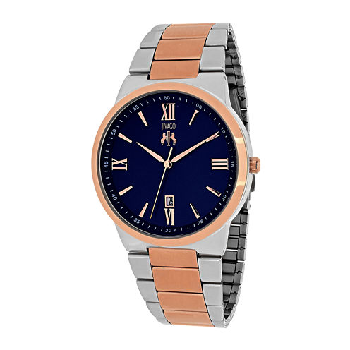 Jivago Clarity Mens Blue Dial and Rose-Tone Bracelet Watch