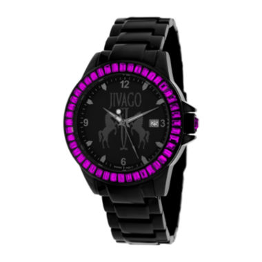 jcpenney.com | Jivago Womens Folie Black & Pink Bracelet Watch