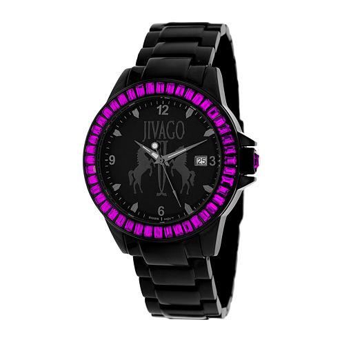 Jivago Womens Folie Black & Pink Bracelet Watch