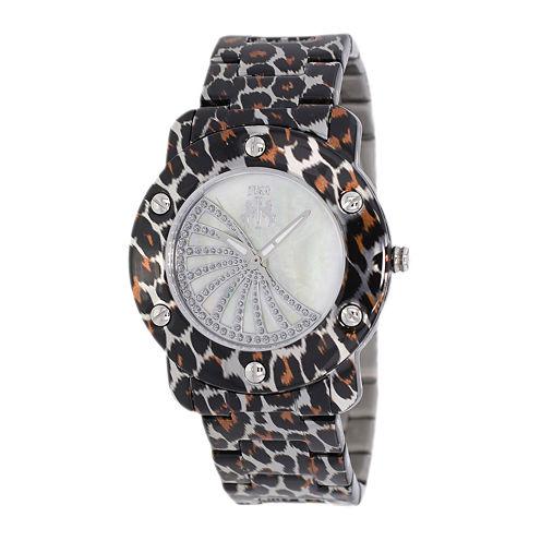 Jivago Womens White Faux Pearl Dial Feline Brown Stainless Steel Watch
