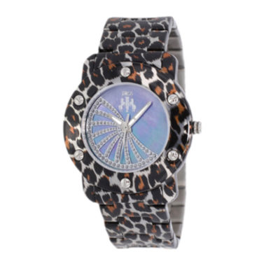 jcpenney.com | Jivago Womens Purple Faux Pearl Dial Feline Brown Stainless Steel Watch