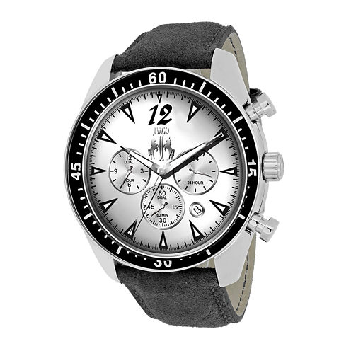 Jivago Mens Timeless Silver Dial Black Leather Strap Watch