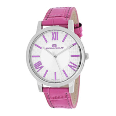 jcpenney.com | Oceanaut Moon Womens White Dial and Pink Leather Strap Watch