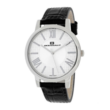 jcpenney.com | Oceanaut Moon Womens White Dial and Black Leather Strap Watch