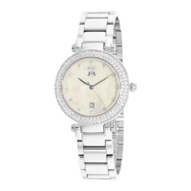 jcpenney.com | Jivago Parure Womens White Dial Stainless Steel Bracelet Watch