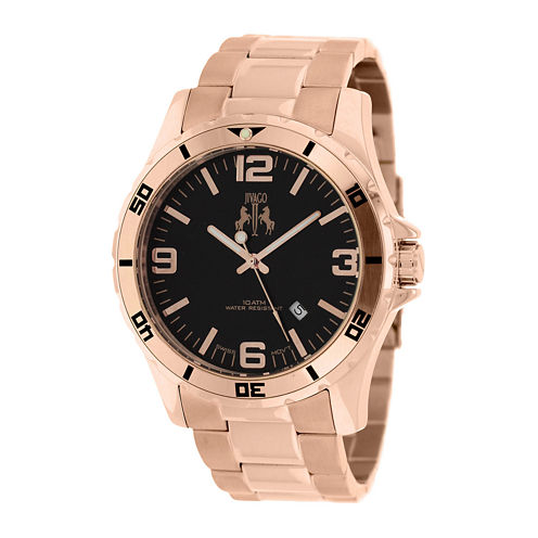 Jivago Ultimate Mens Black Dial Rose-Tone Stainless Steel Bracelet Watch