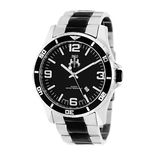 Jivago Ultimate Mens Silver-Tone and Black Stainless Steel Watch