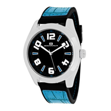 jcpenney.com | Oceanaut Vault Mens Black Dial and Blue Silicone Strap Watch