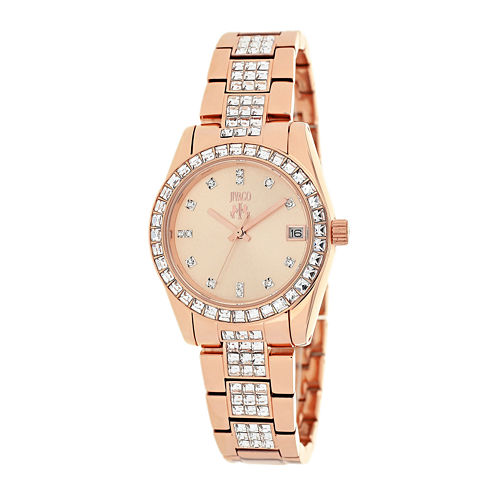 Jivago Magnifique Womens Rose-Tone Stainless Steel Strap Bracelet Watch