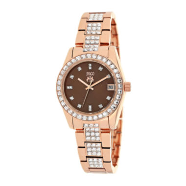 jcpenney.com | Jivago Magnifique Womens Brown Dial Rose-Tone Stainless Steel Bracelet Watch