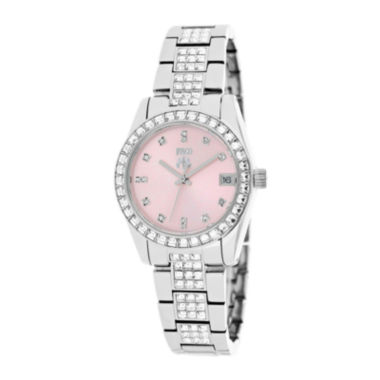 jcpenney.com | Jivago Magnifique Womens Pink Dial Stainless Steel Bracelet Watch