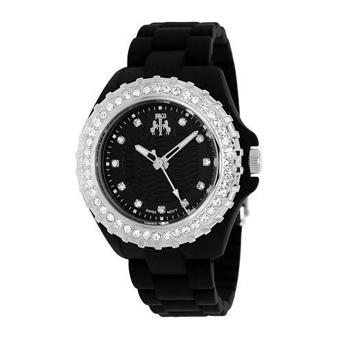Jivago Cherie Womens Black Dial Silver-Tone Bezel Bracelet Watch