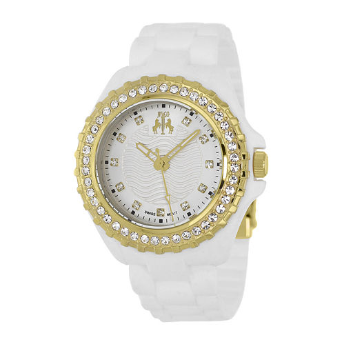 Jivago Cherie Womens Silver Dial Gold-Tone Bracelet Watch