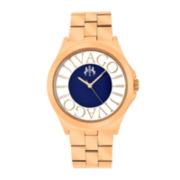 Jivago Fun Womens Black & Rose-Tone Stainless Steel Bracelet Watch