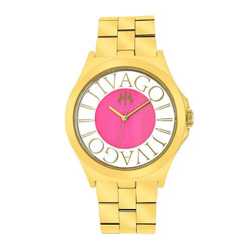 Jivago Fun Womens Pink & Rose-Tone Stainless Steel Bracelet Watch