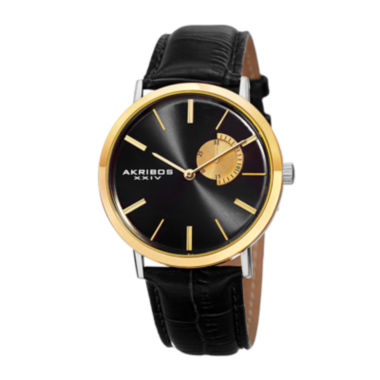 jcpenney.com | Akribos XXIV Element Mens Two-Tone and Black Leather Strap Watch