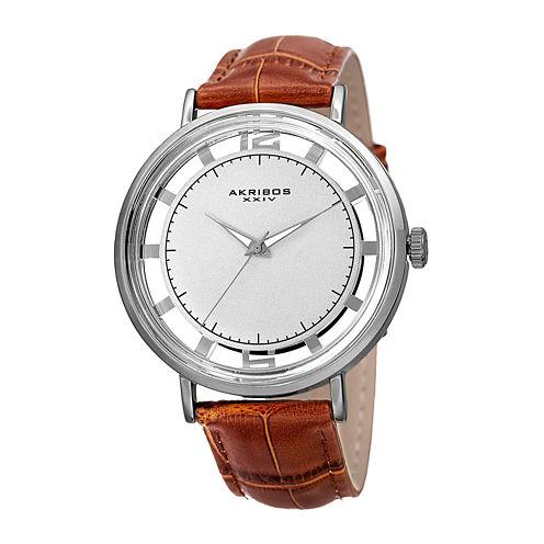 Akribos XXIV Mens Silver-Tone Red Leather Strap Watch