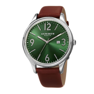 jcpenney.com | Akribos XXIV Mens Green Dial Brown Leather Strap Watch