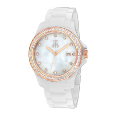 jcpenney.com | Jivago Womens White Dial White Ceramic Bracelet Watch