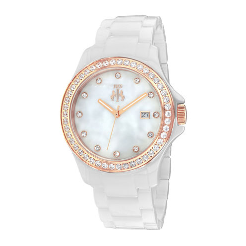 Jivago Womens White Dial White Ceramic Bracelet Watch