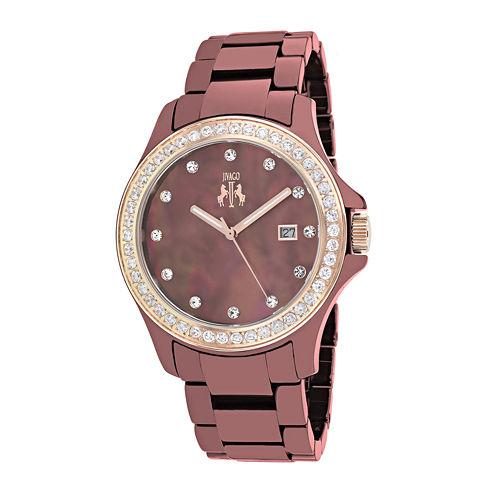 Jivago Womens White Dial Red Ceramic Bracelet Watch