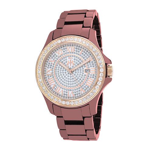 Jivago Womens Silver Dial Red Ceramic Bracelet Watch