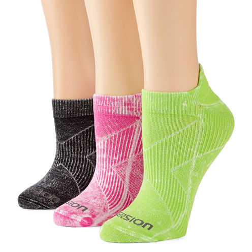 Xersion™ 3-pk. Stay-In-Place No-Show Socks