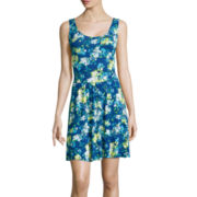 Decree® Sleeveless Crossback Skater Dress- Juniors