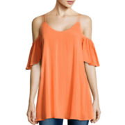 Decree® Short-Sleeve Cold Shoulder Top
