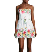 City Triangles® Strapless Floral Poplin Dress
