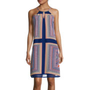 Luxology Sleeveless Print Shift with Metal Neck Detail Dress
