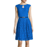 London Style Collection Sleeveless Lace Fit-and-Flare Dress
