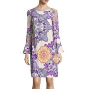 Trulli 3/4-Sleeve Medallion Print Shift Dress