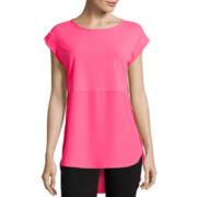 Worthington® Cap-Sleeve Mixed Media Side Slit Tunic - Tall