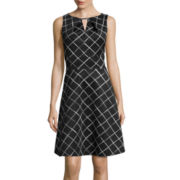 Liz Claiborne® Bar Neck Fit-and-Flare Dress