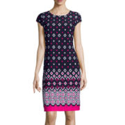 Liz Claiborne® Cap Sleeve Geo Print Shift Dress