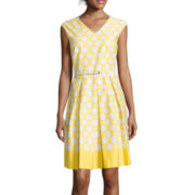 Liz Claiborne® Polka Dot Belted Fit-and-Flare Dress