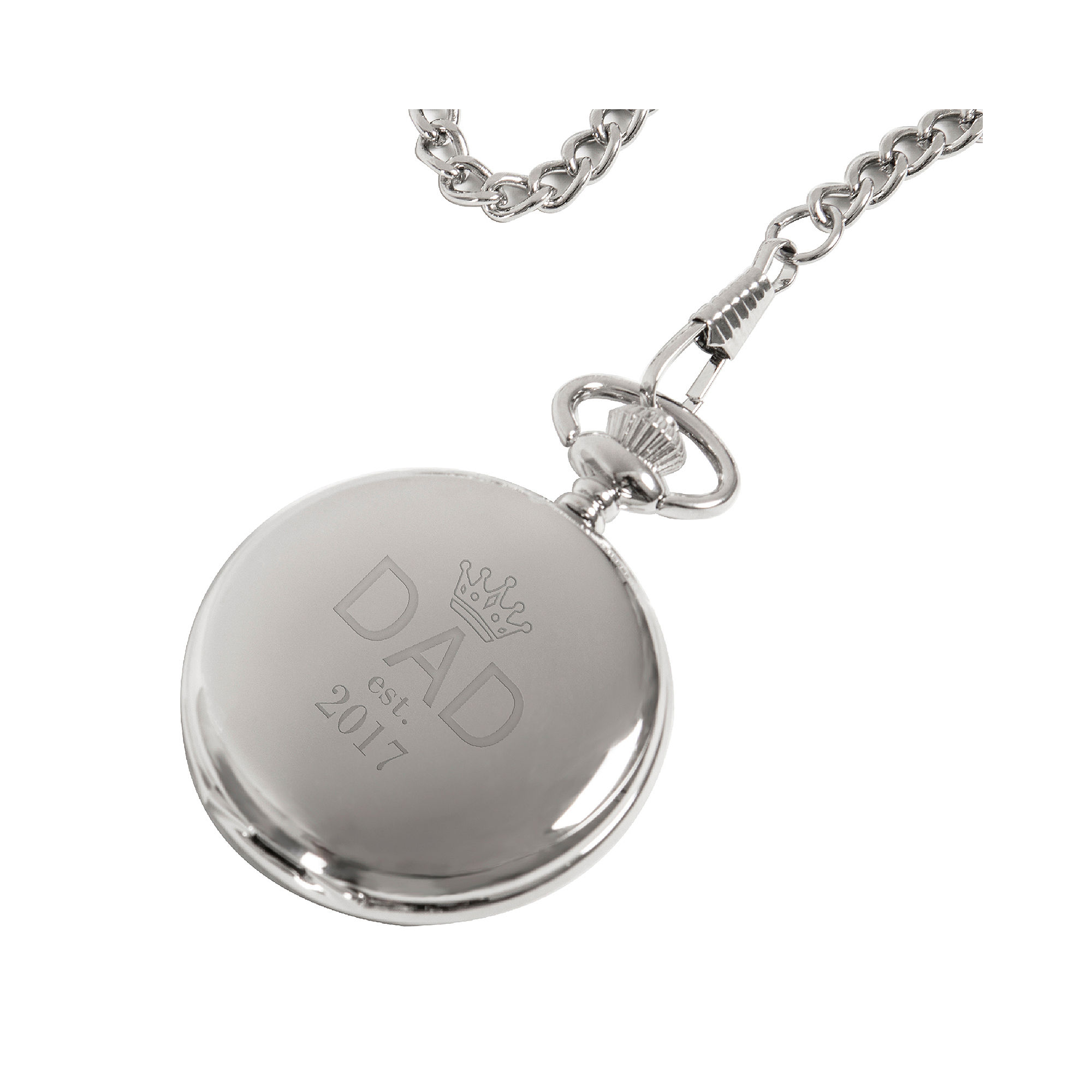 Personalized Fathers Day Silver-Plated Pocket Watch
