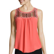 by&by Embroidered-Inset Tank Top