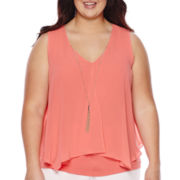 By & By Split-Front Tank Top with Necklace