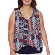 By & By Print Split-Front Tank Top with Necklace - Juniors  Plus