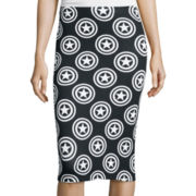 Captain America Shield Print Bodycon Pencil Skirt