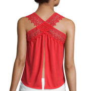 Arizona Crochet Fringe and Split Back Tank Top - Juniors
