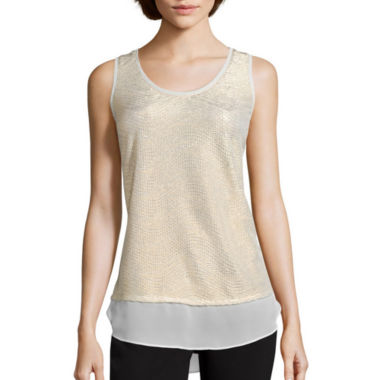 jcpenney.com | Worthington® Sleeveless Layered Tank Top - Petite